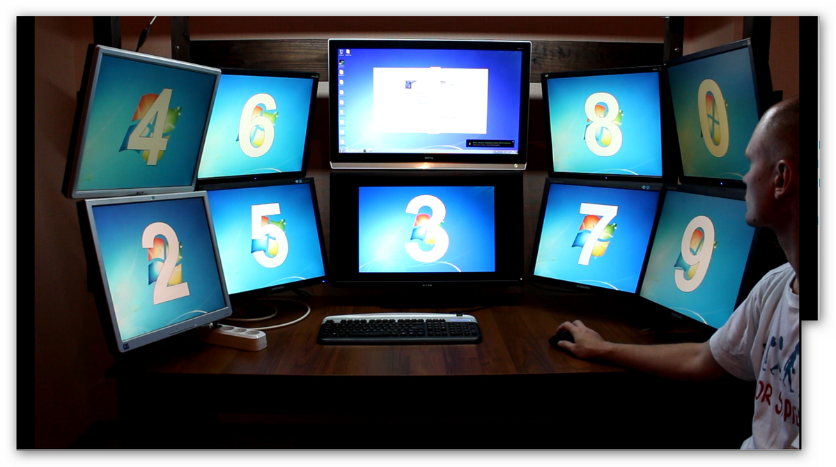 10 мониторный рабочий стол своими руками