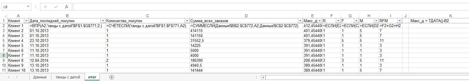 RFM-анализ на коленке (Excel) - 3