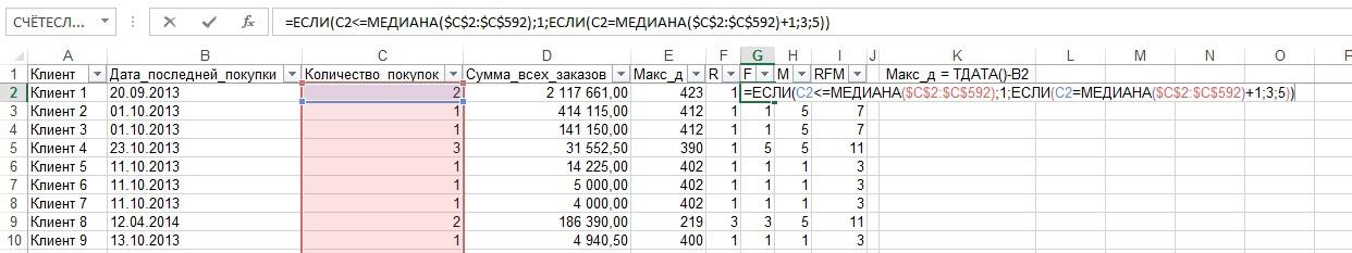 RFM-анализ на коленке (Excel) - 5